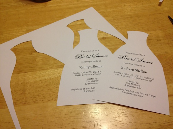 How to diy bridal shower invitations we tie the knots using that same template trace only the top of the figure onto the back of some glittered craft paper and cut it out stopboris Gallery